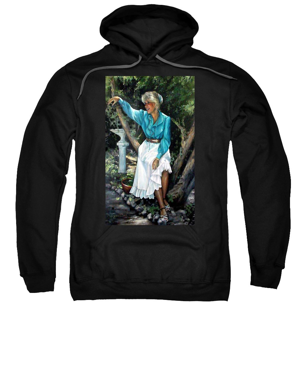Self Portrait Sweatshirt featuring the painting Young Self Portrait by Donna Tucker