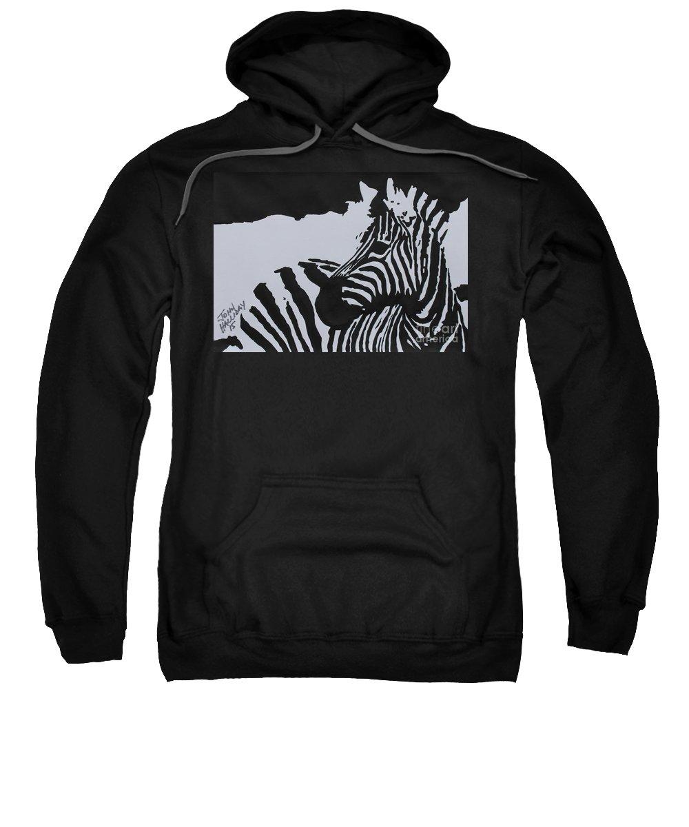 Pop Art Sweatshirt featuring the painting Zebra by John Halliday
