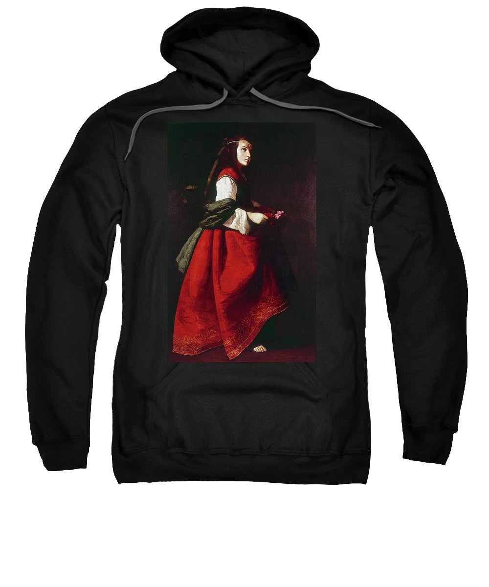 1642 Sweatshirt featuring the painting Zurbur�n Saint Casilda by Granger