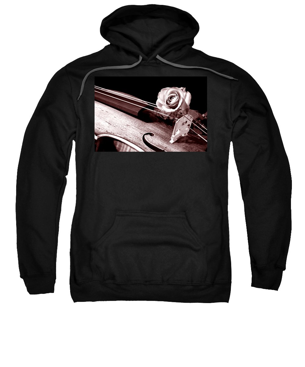 Violin Sweatshirt featuring the photograph Rose Violin Viola by M K Miller