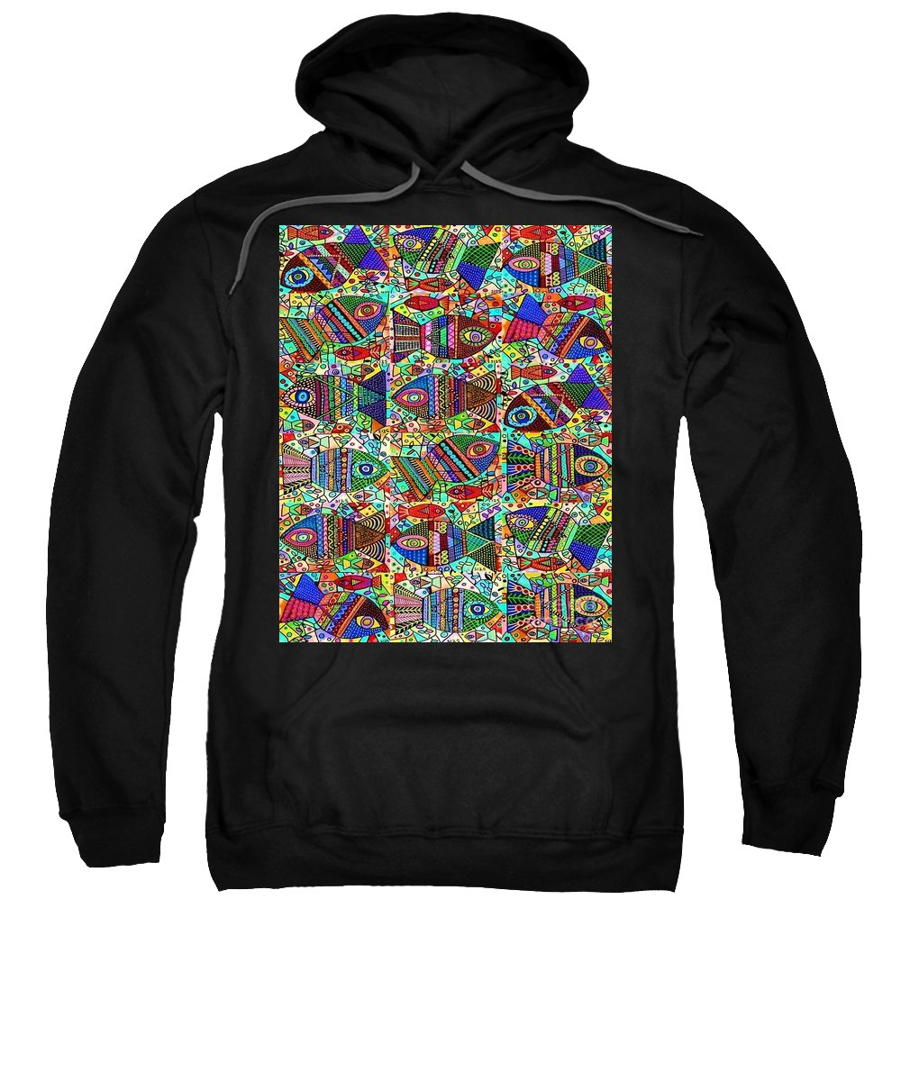 Sweatshirt featuring the painting X 18 Talavera Fish Blessings by Sandra Silberzweig