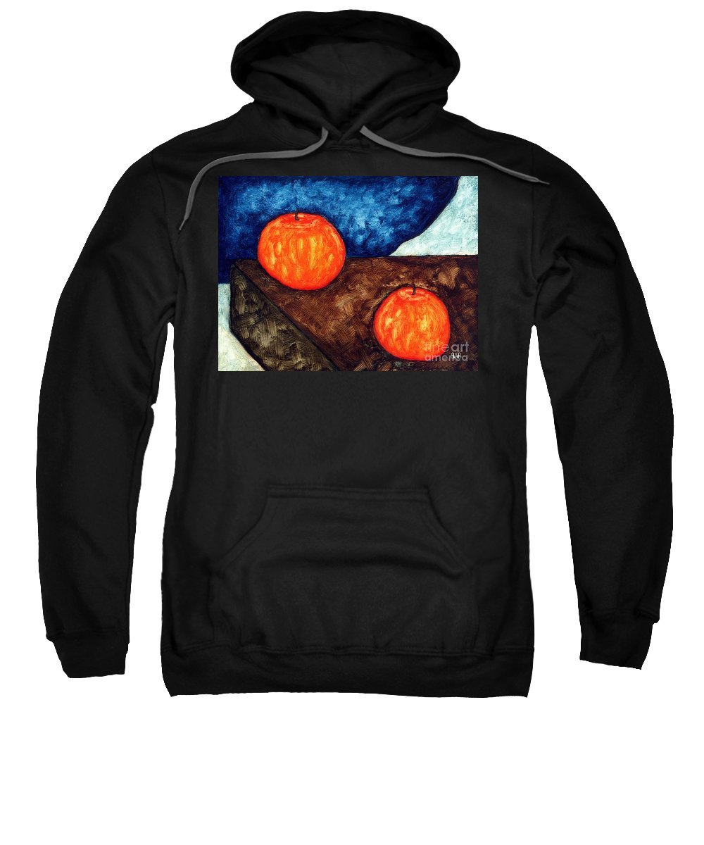 Still Life Sweatshirt featuring the painting Still Life With Apples I by Brian Bingham
