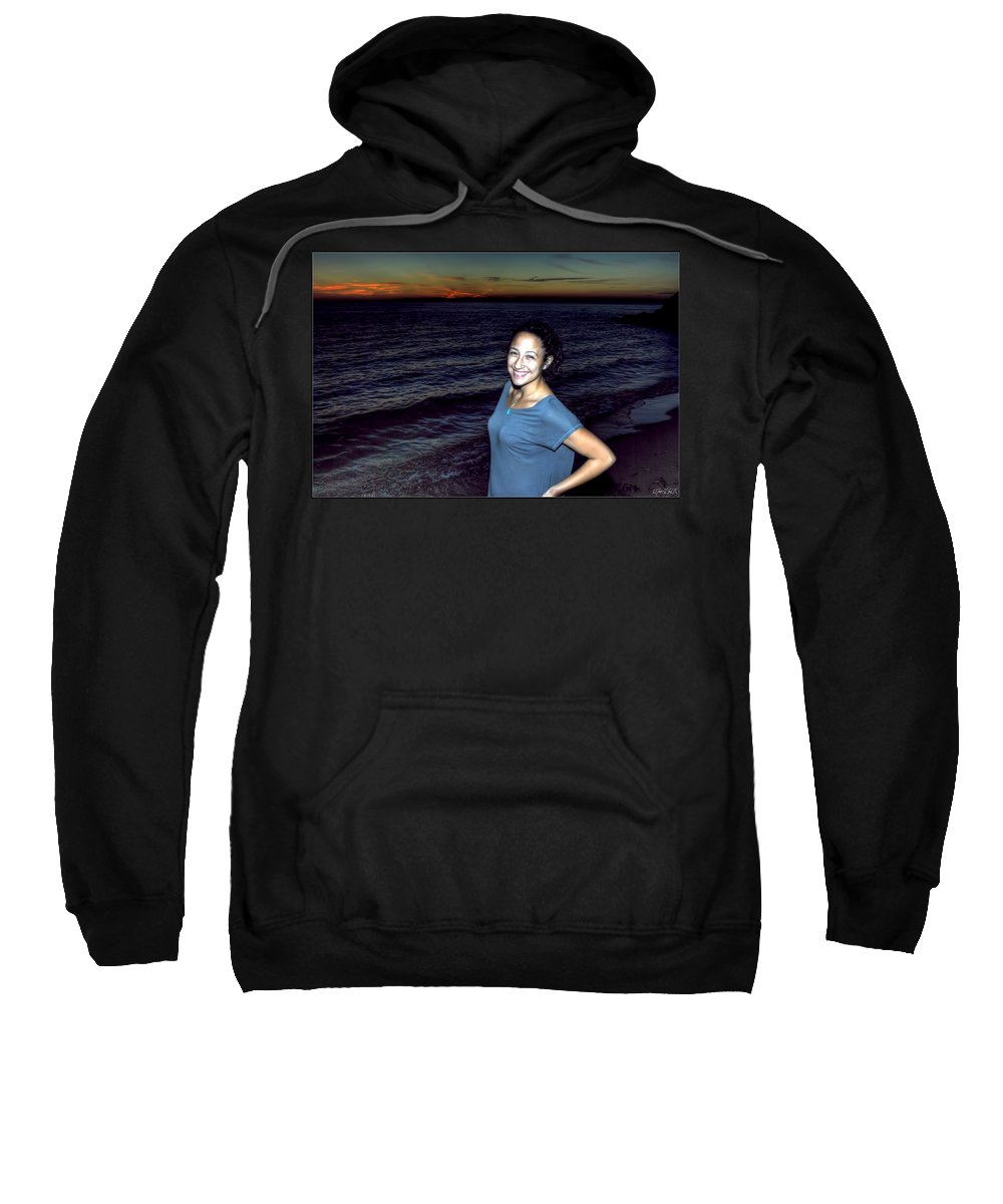 Sweatshirt featuring the photograph 003 A Sunset With Eyes That Smile Soothing Sounds Of Waves For Miles Portrait Series by Michael Frank Jr