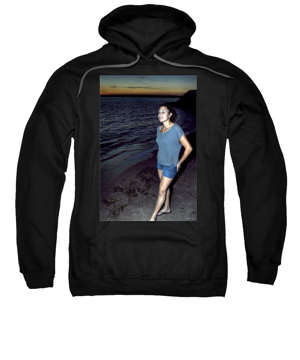Sweatshirt featuring the photograph 004 A Sunset With Eyes That Smile Soothing Sounds Of Waves For Miles Portrait Series by Michael Frank Jr
