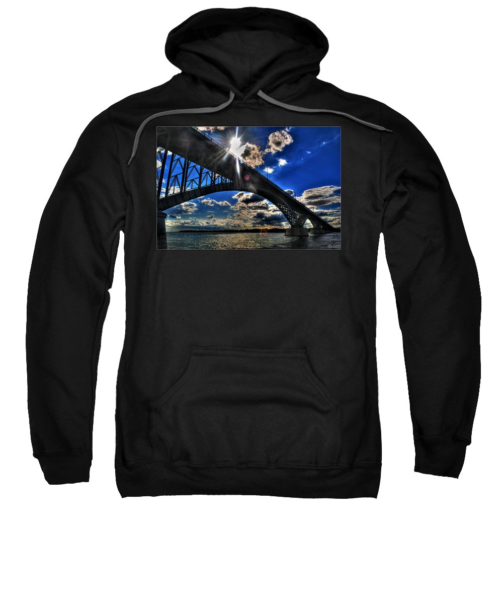 Sweatshirt featuring the photograph 010 Peace Bridge Series II Beautiful Skies by Michael Frank Jr