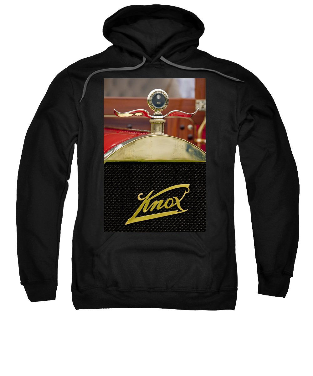 1909 Knox Open Touring Sweatshirt featuring the photograph 1909 Knox Open Touring Hood Ornament by Jill Reger