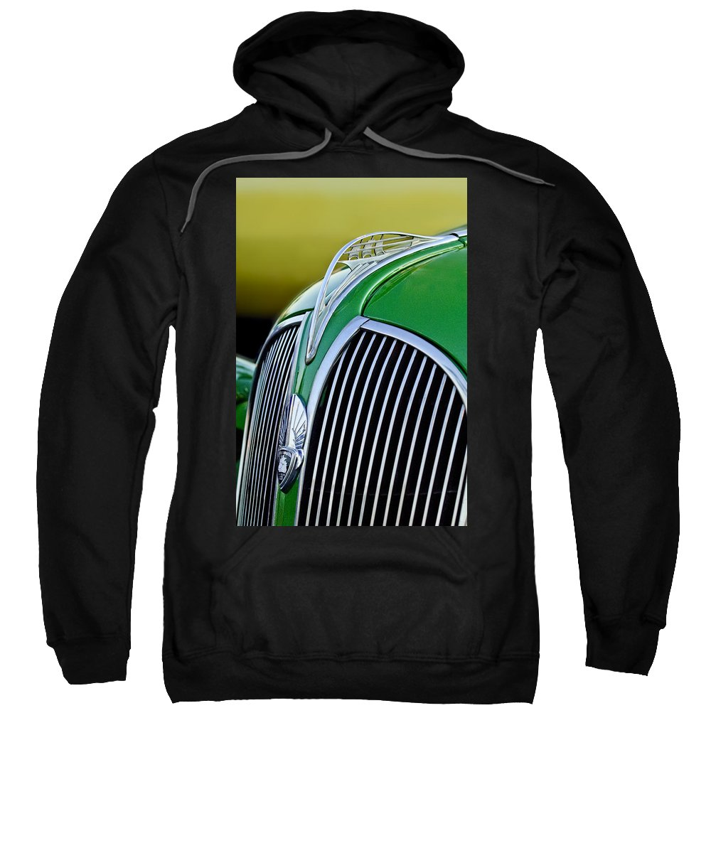 1937 Plymouth Sweatshirt featuring the photograph 1937 Plymouth Hood Ornament by Jill Reger