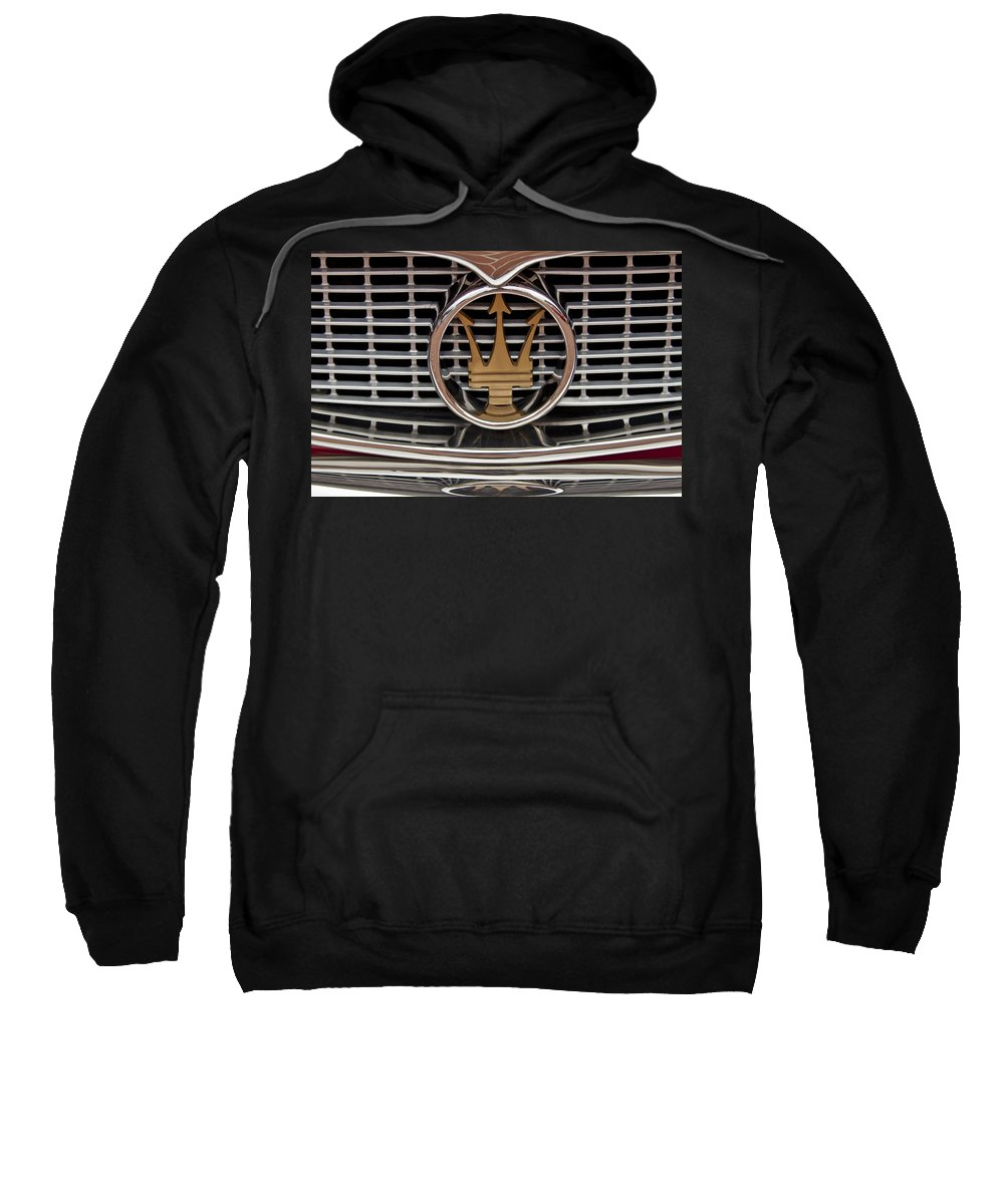 1960 Maserati 3500 Gt Coupe Sweatshirt featuring the photograph 1960 Maserati 3500 Gt Coupe Emblem by Jill Reger