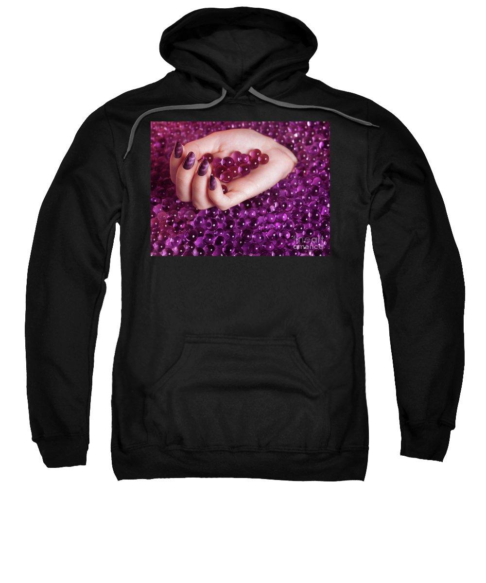 Nail Polish Sweatshirt featuring the photograph Abstract Woman Hand With Purple Nail Polish by Oleksiy Maksymenko