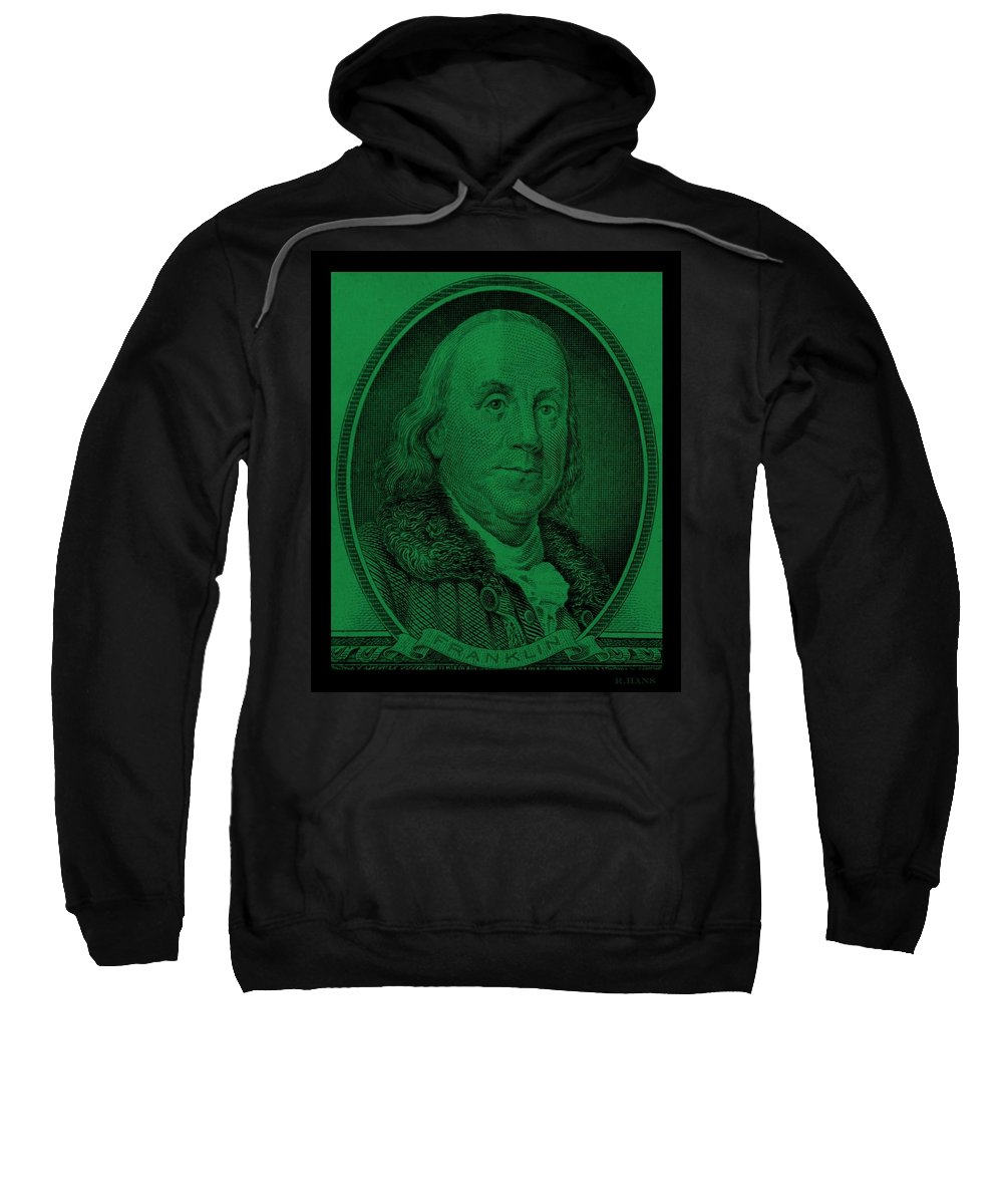 Ben Franklin Sweatshirt featuring the photograph Ben Franklin In Dark Green by Rob Hans