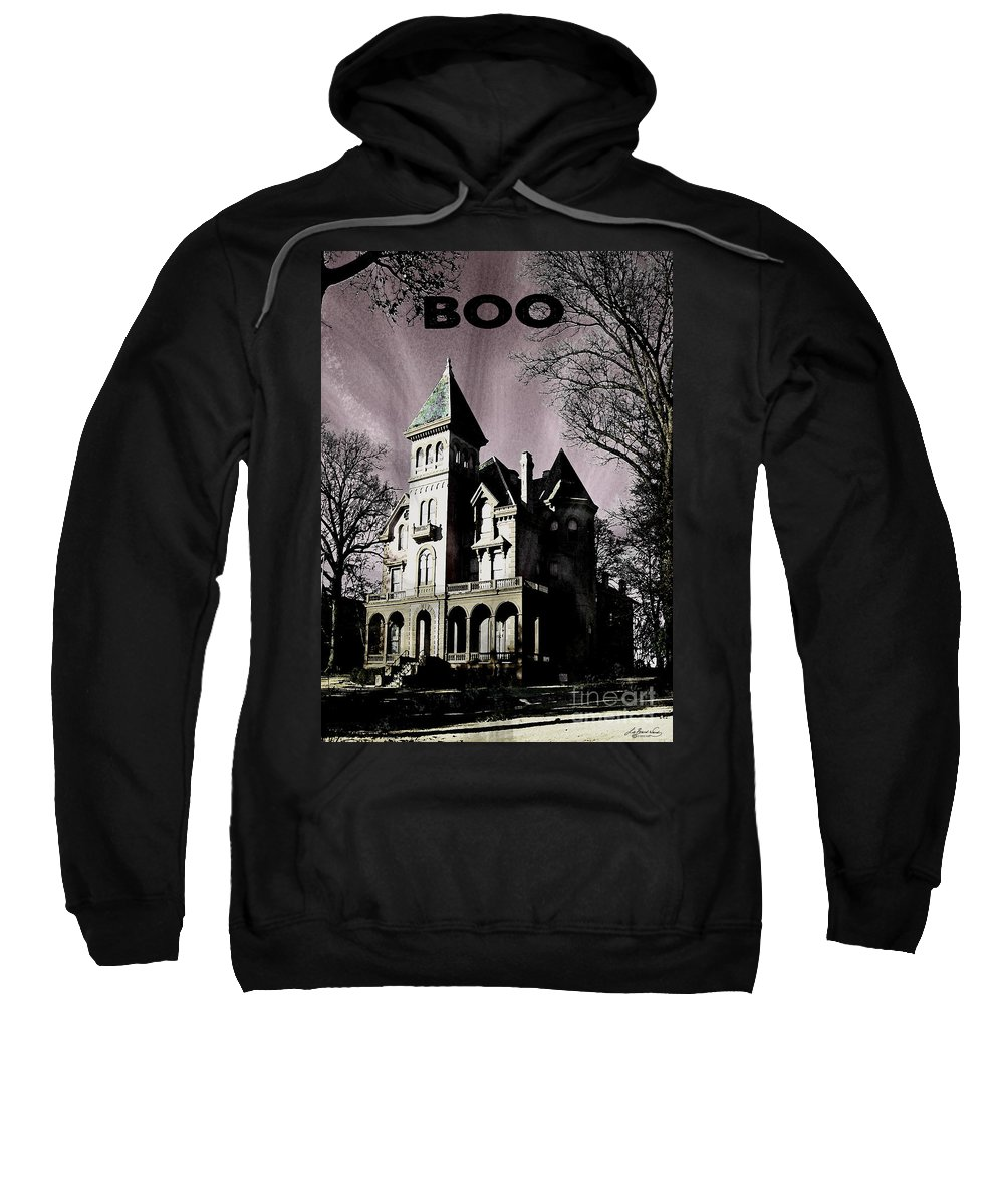 Victorian Mansion Sweatshirt featuring the digital art Boo by Lizi Beard-Ward