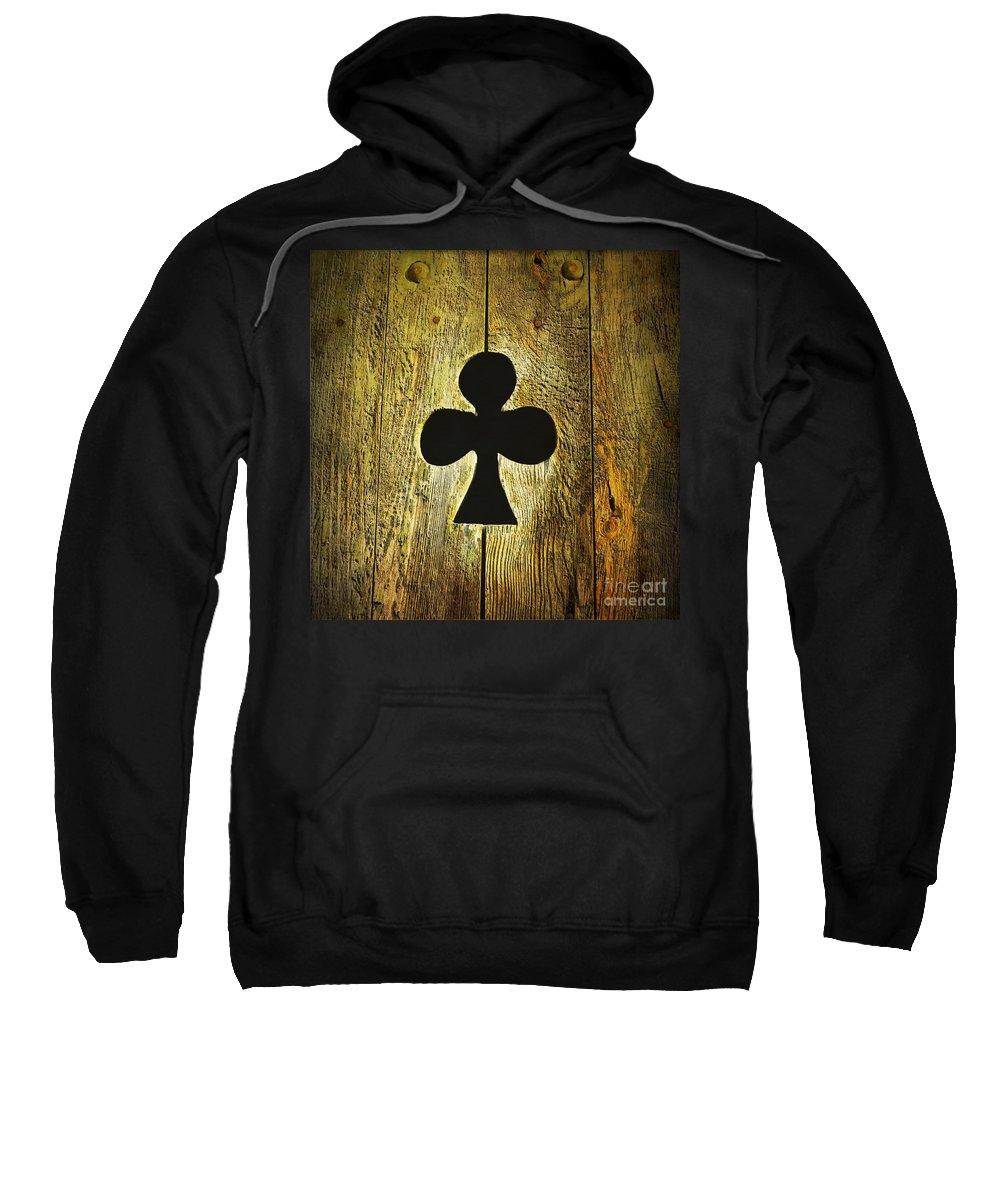 Wooden Sweatshirt featuring the photograph Clover Shape Cut Out Of Wooden Door by Bernard Jaubert
