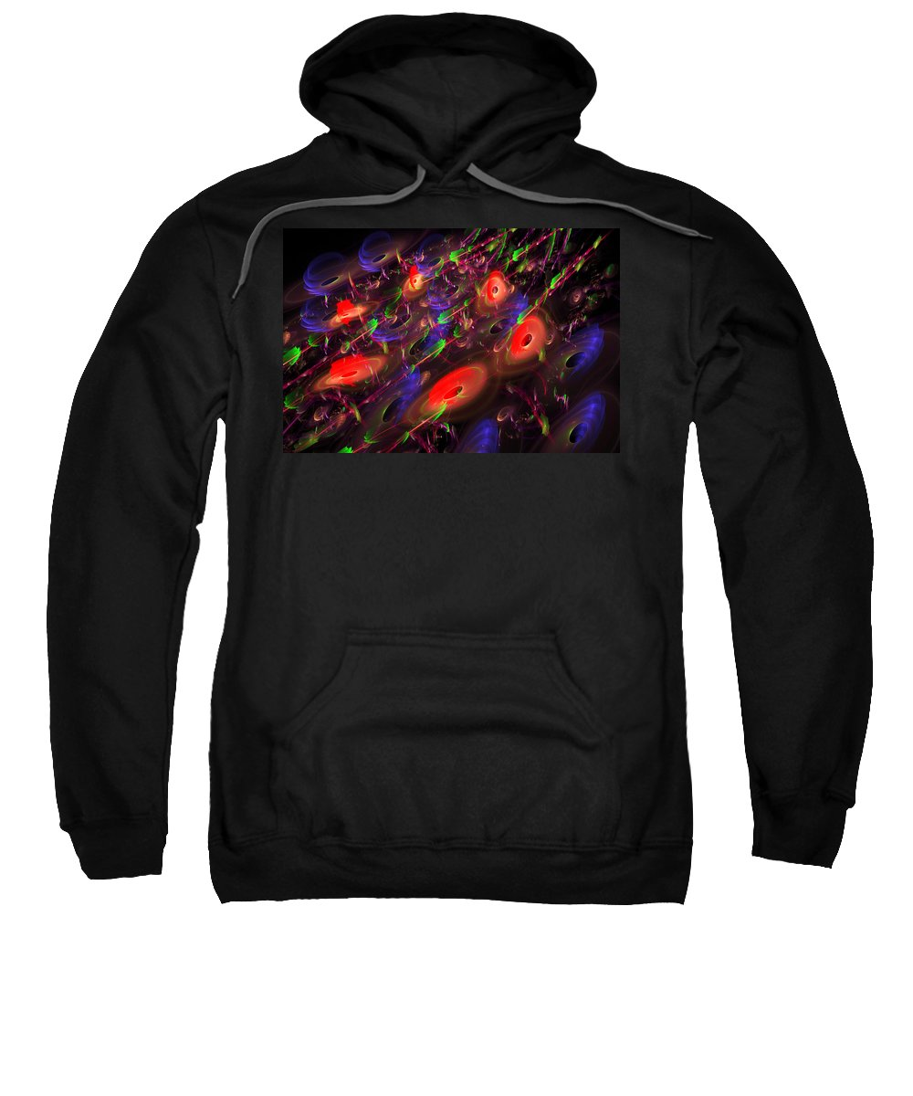 Blue Sweatshirt featuring the digital art Computer Generated Blue Red Green Abstract Fractal Flame Modern Art by Keith Webber Jr