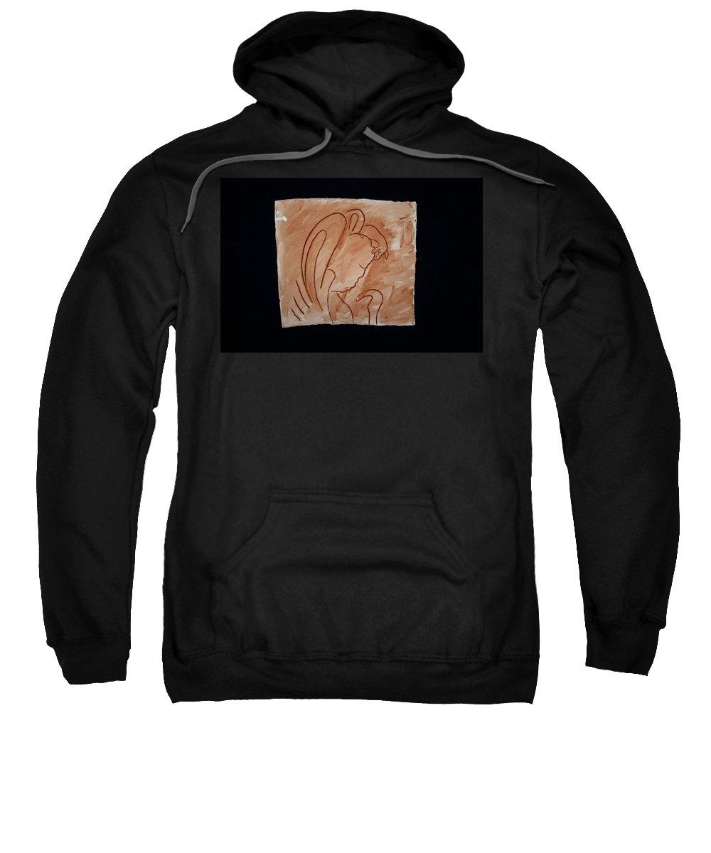 Jesus Sweatshirt featuring the ceramic art Divine Shepherd by Gloria Ssali