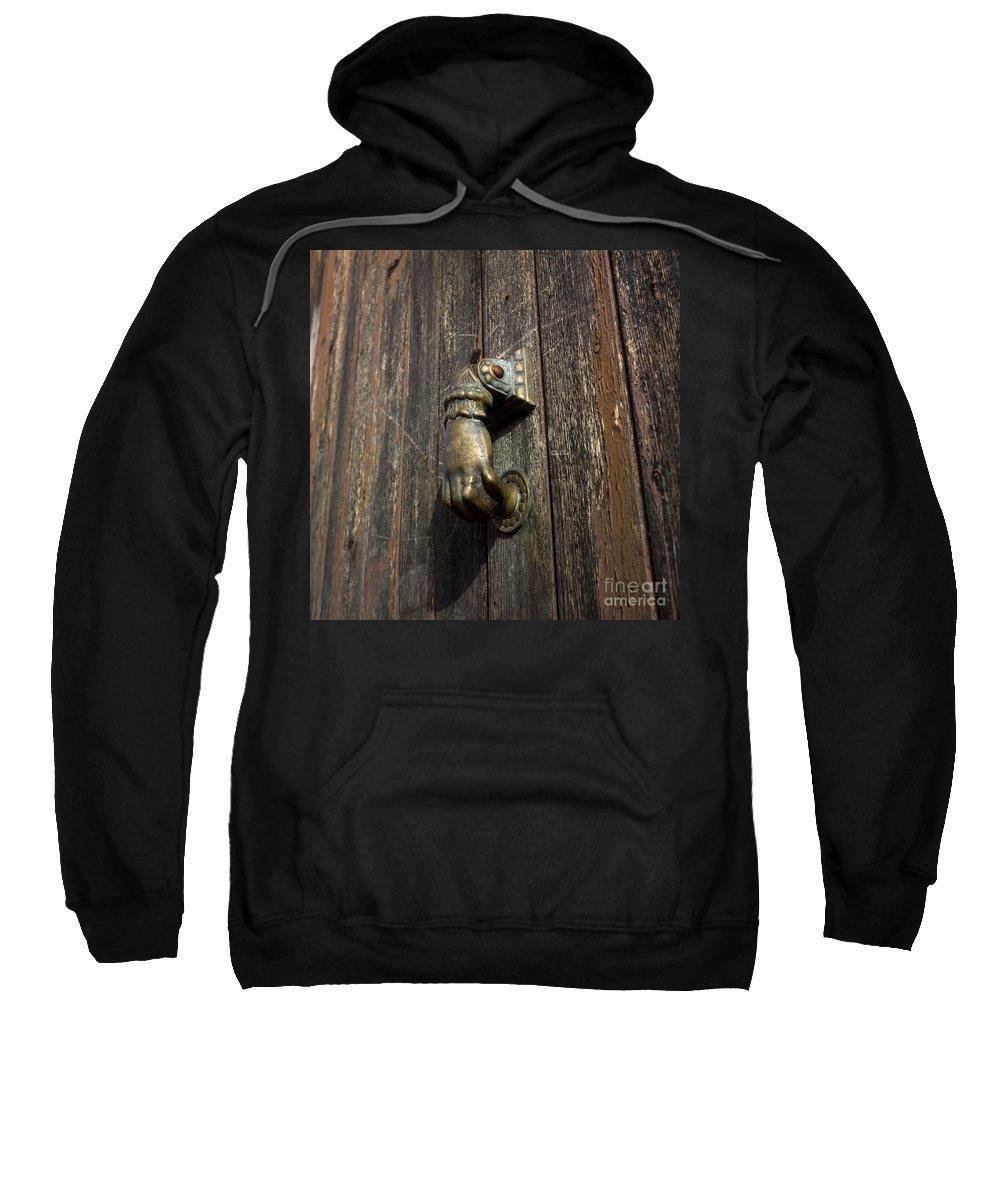 Wooden Sweatshirt featuring the photograph Door Handle In The Shape Of A Hand by Bernard Jaubert