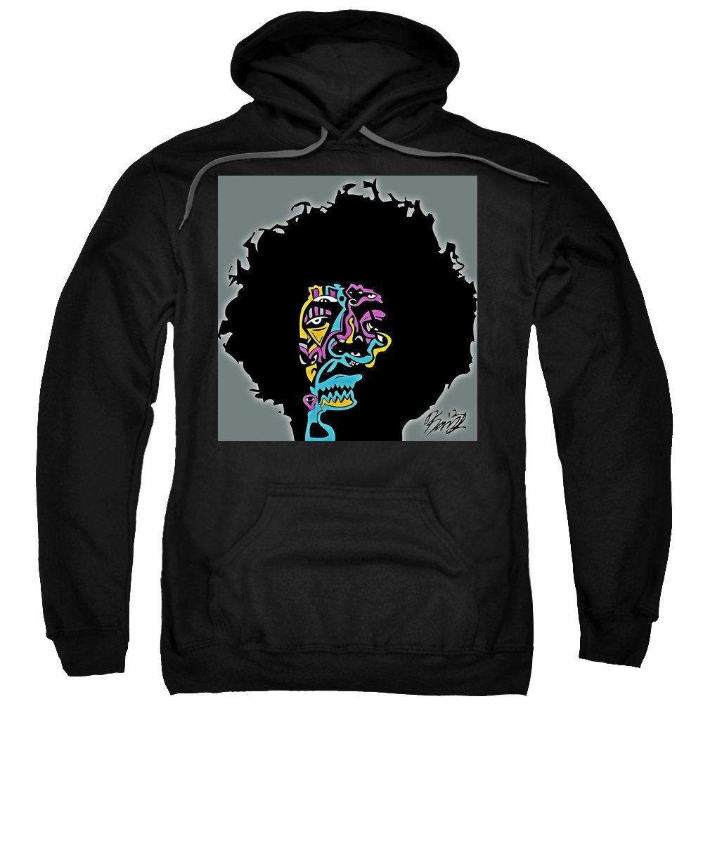Jimi Sweatshirt featuring the digital art Jimi Hendrix by Kamoni Khem