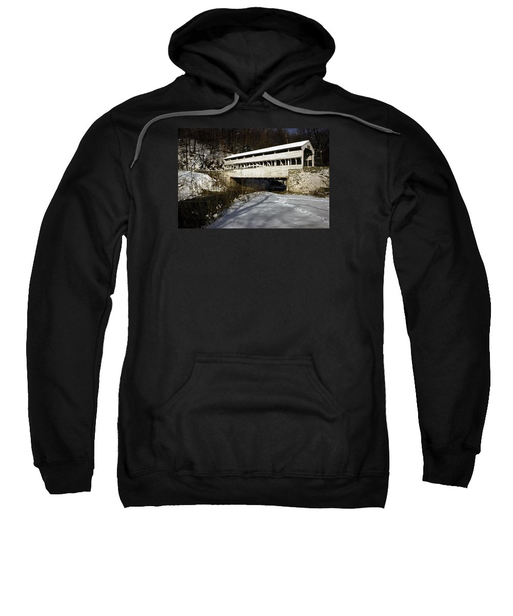 Knox Covered Bridge Sweatshirt featuring the photograph Knox Covered Bridge by Sally Weigand