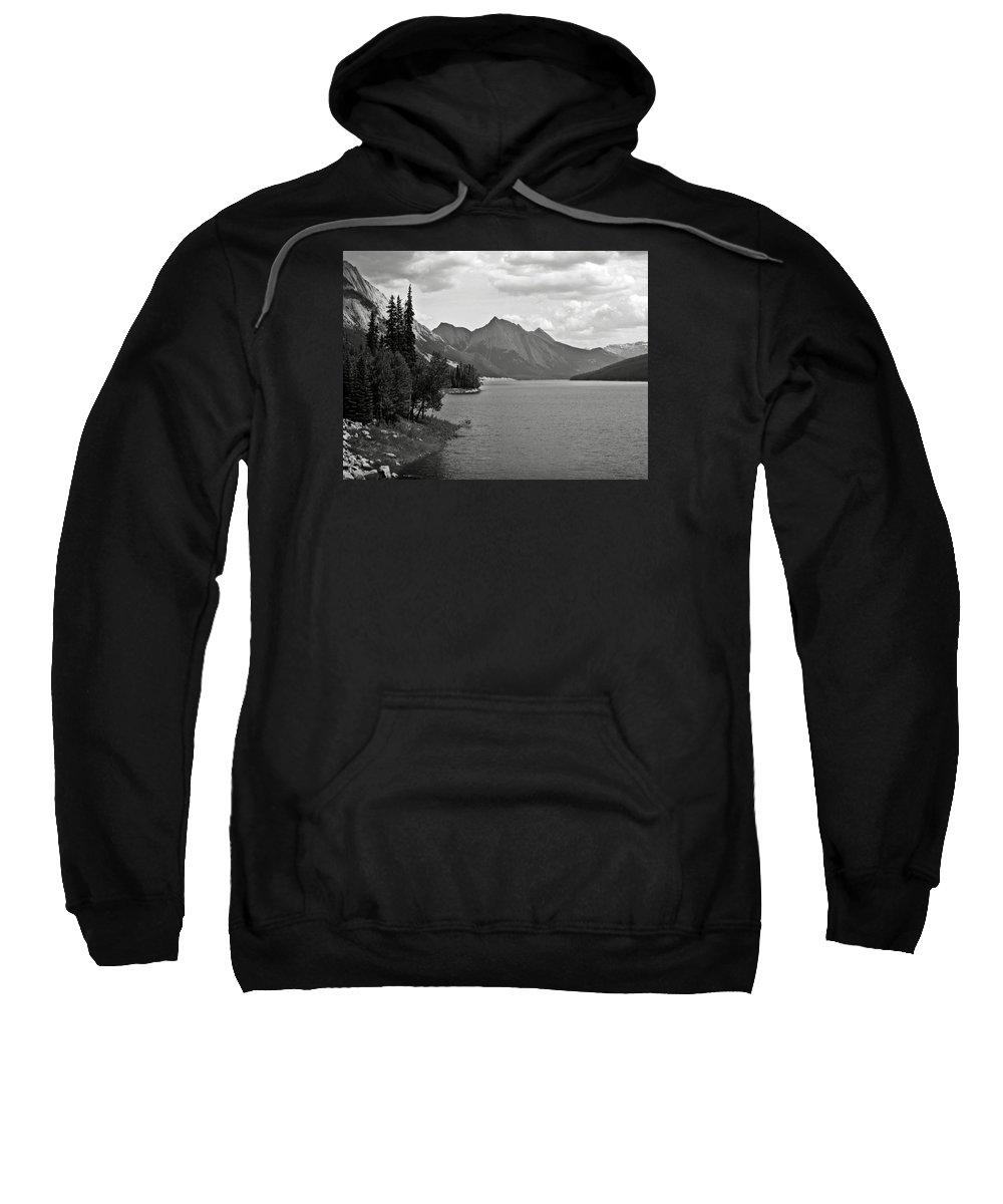 B&w Sweatshirt featuring the photograph Maligne Lake by RicardMN Photography
