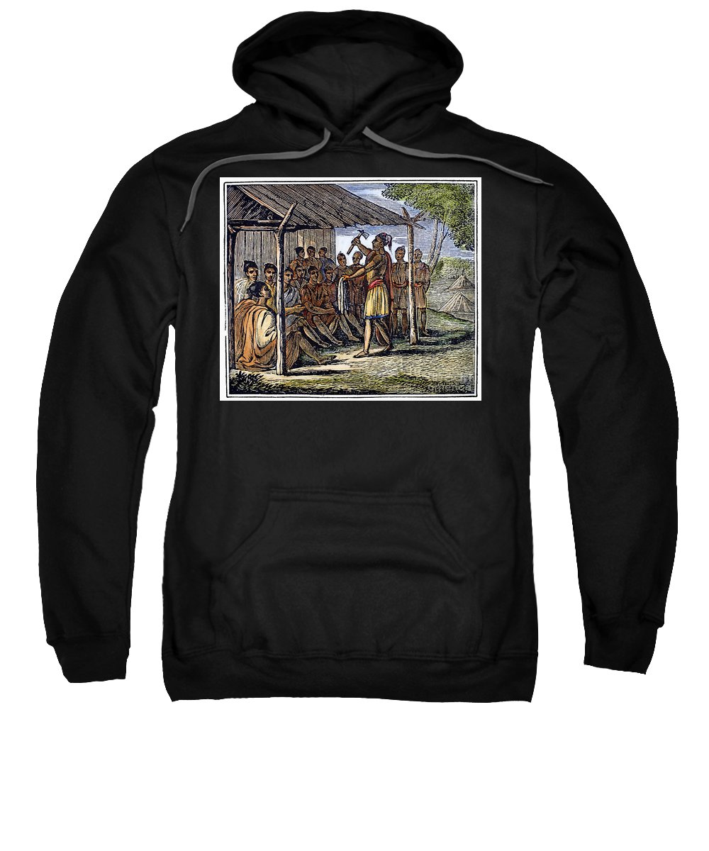 1835 Sweatshirt featuring the photograph Native American Council, C1835 by Granger