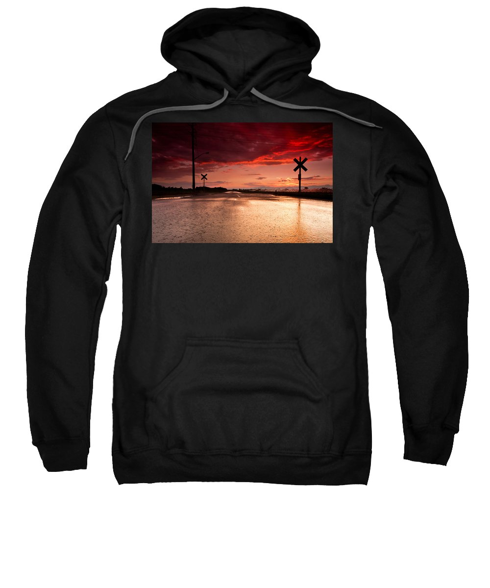 Rail Sweatshirt featuring the photograph Railroad Sunset by Cale Best