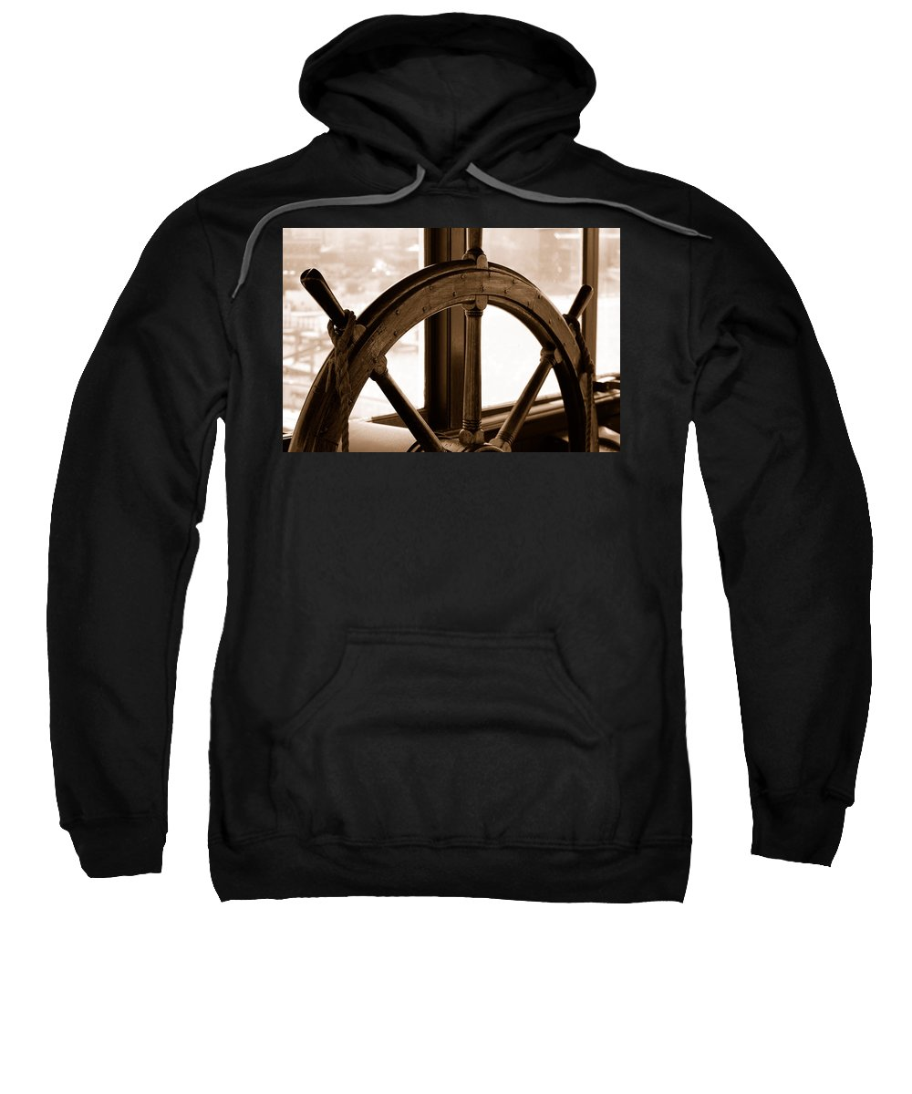 Sepia Toned Ships Sterring Wheel Windows Rope San Francisco Ca Sweatshirt featuring the photograph Sepia Wheel by Holly Blunkall