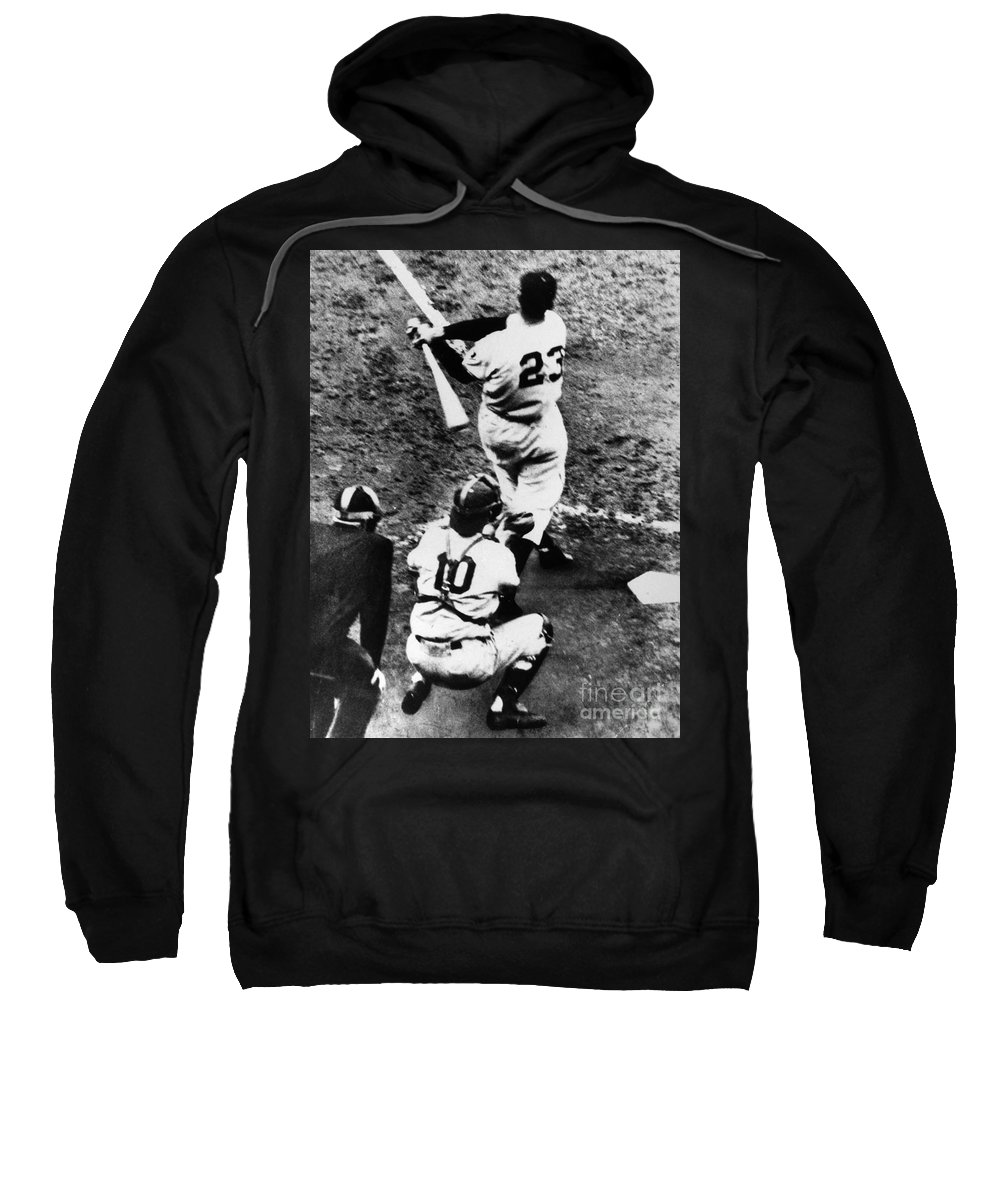 1951 Sweatshirt featuring the photograph Thomson Home Run, 1951 by Granger