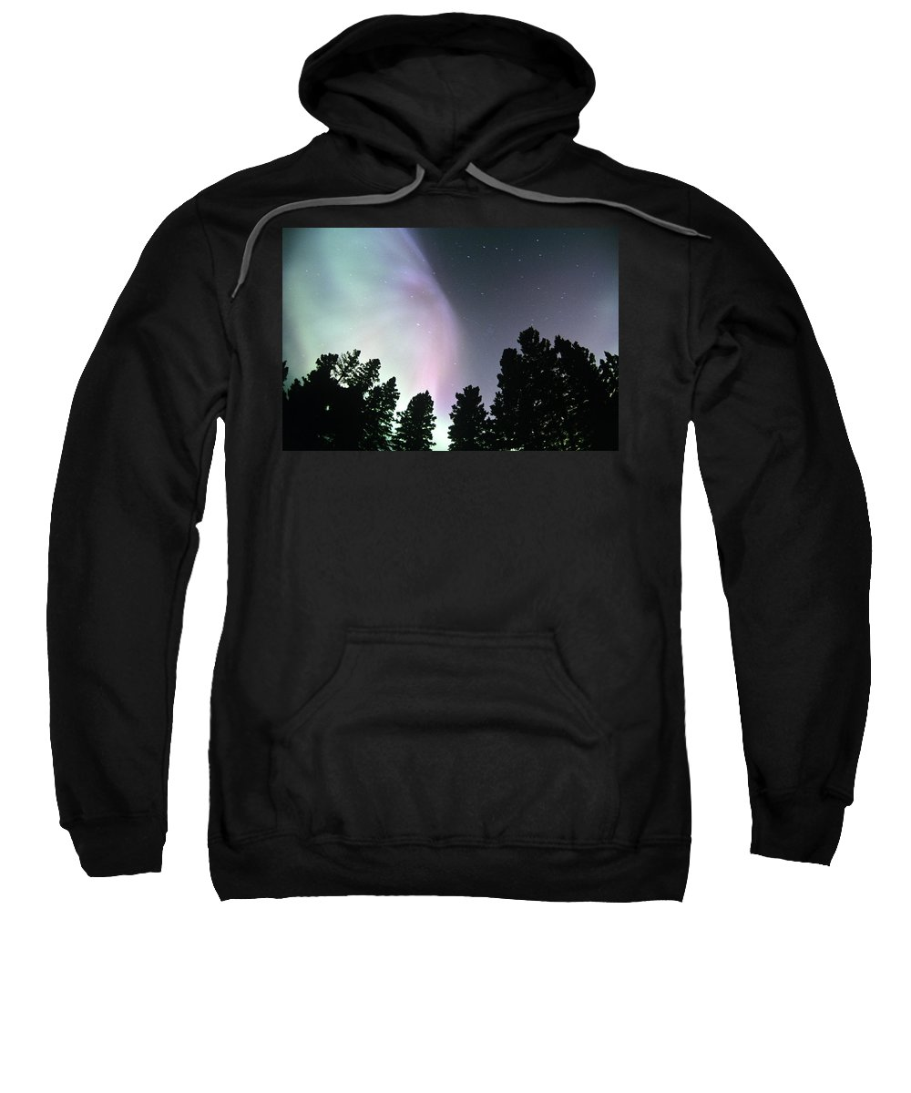 Beautiful Sweatshirt featuring the photograph View Of Trees And Northern Lights by Dave Reede