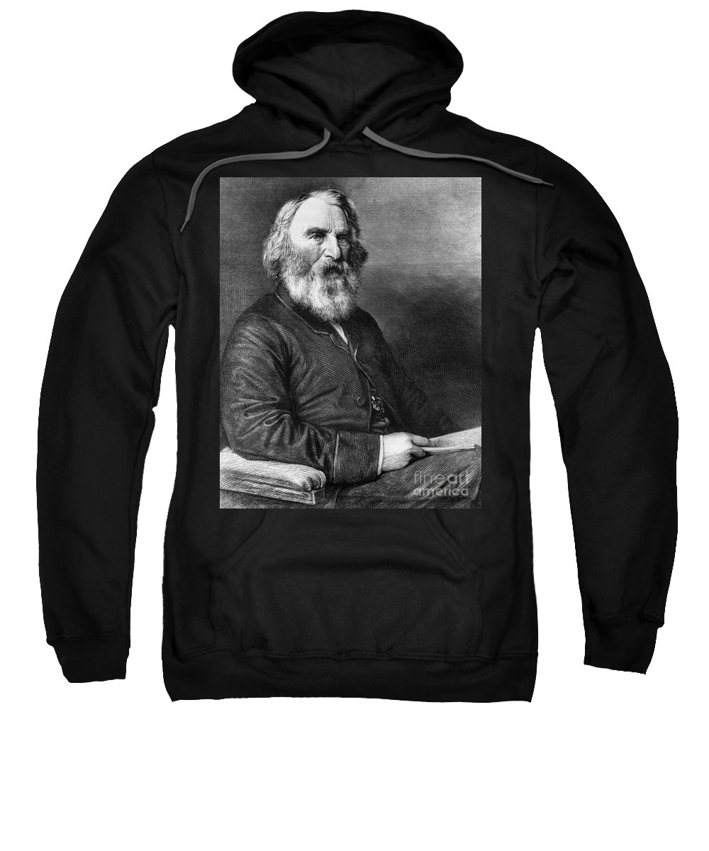 1869 Sweatshirt featuring the photograph Henry Wadsworth Longfellow by Granger