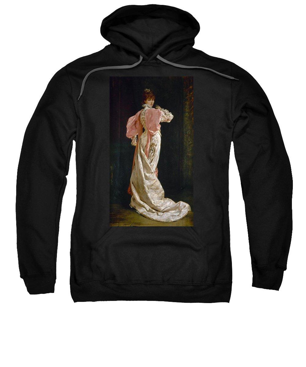 1879 Sweatshirt featuring the photograph Sarah Bernhardt (1844-1923) by Granger