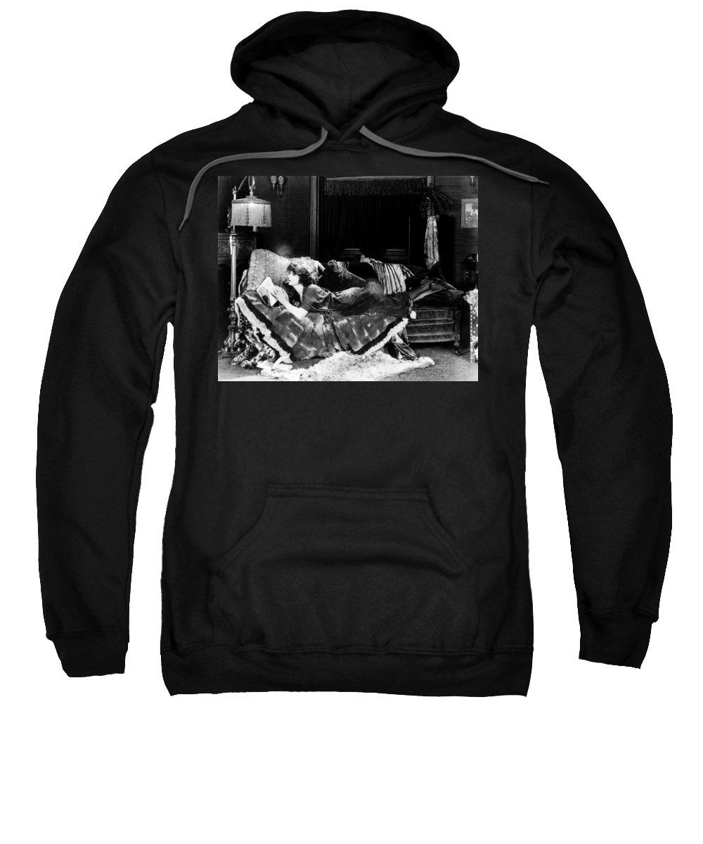 -smoking- Sweatshirt featuring the photograph Silent Film Still: Smoking by Granger