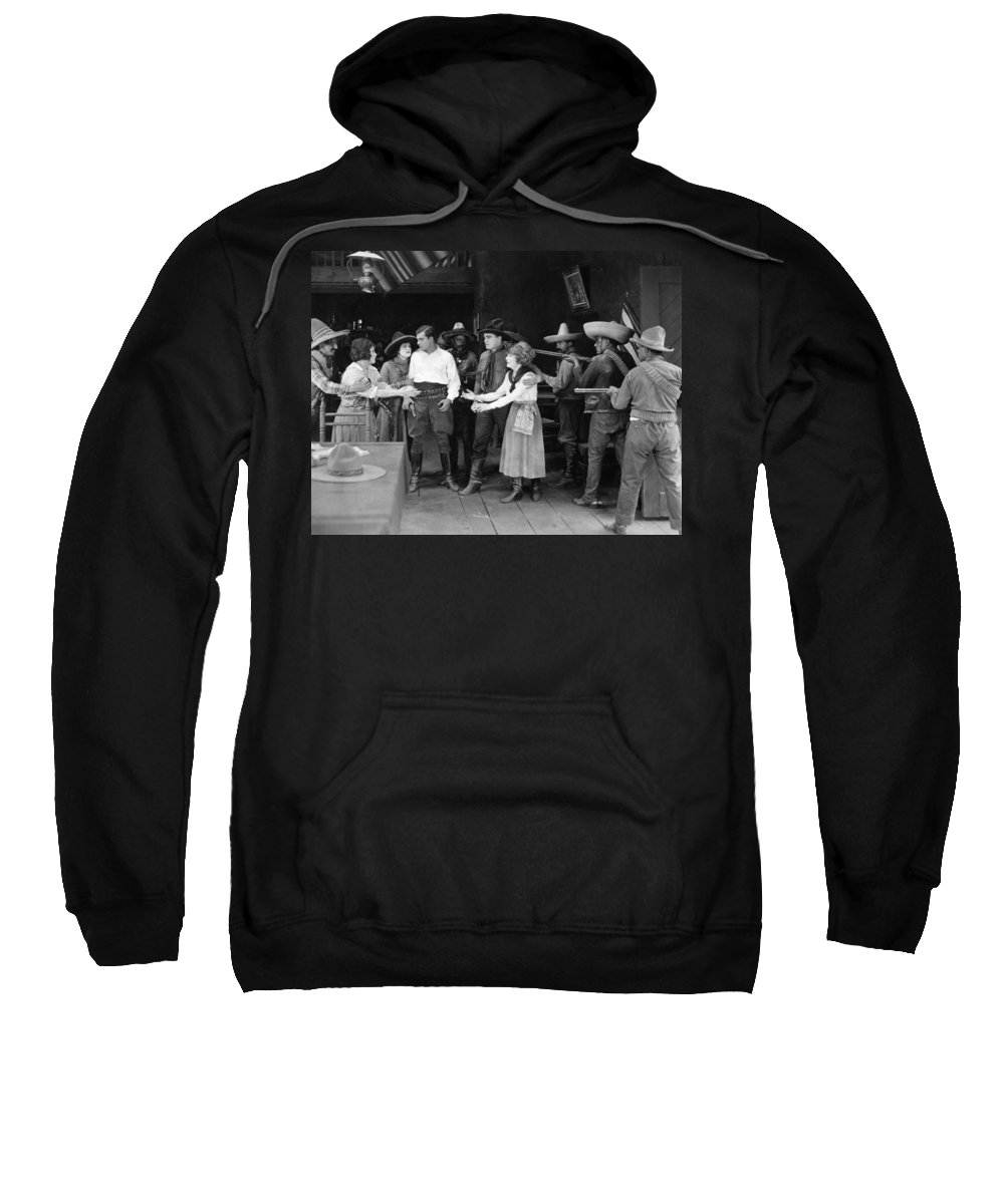 -western- Sweatshirt featuring the photograph Silent Film Still: Western by Granger