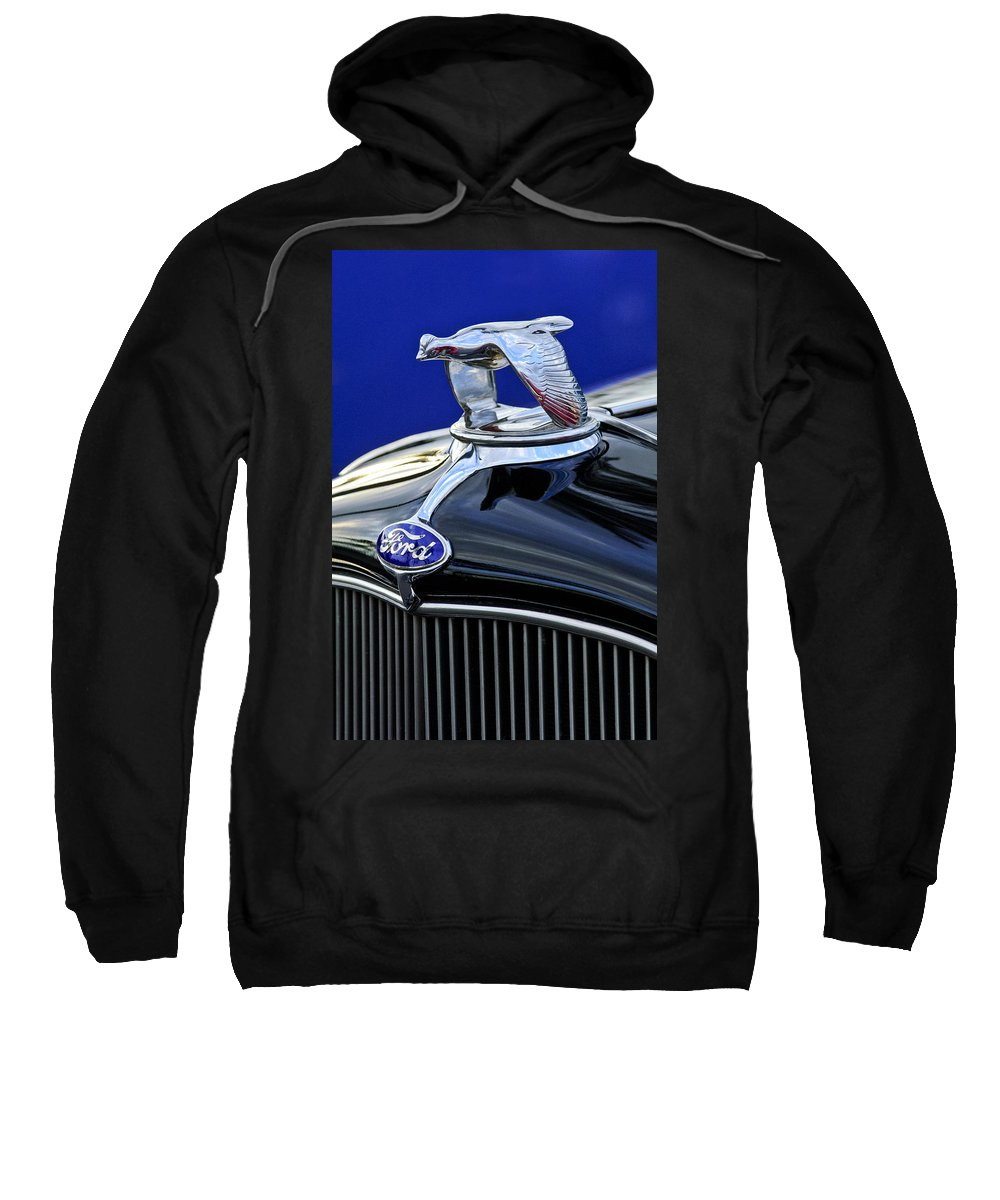 1932 Ford V8 Sweatshirt featuring the photograph 1932 Ford V8 Hood Ornament by Jill Reger