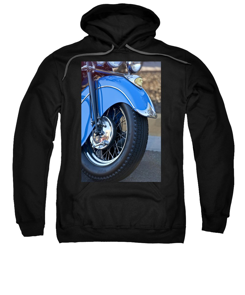 1948 Indian Chief Motorcycle Sweatshirt featuring the photograph 1948 Indian Chief Motorcycle Wheel by Jill Reger