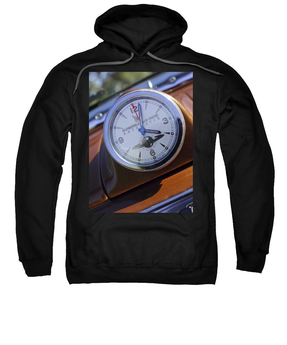 1950 Oldsmobile 88 Sweatshirt featuring the photograph 1950 Oldsmobile 88 Dashboard Clock by Jill Reger