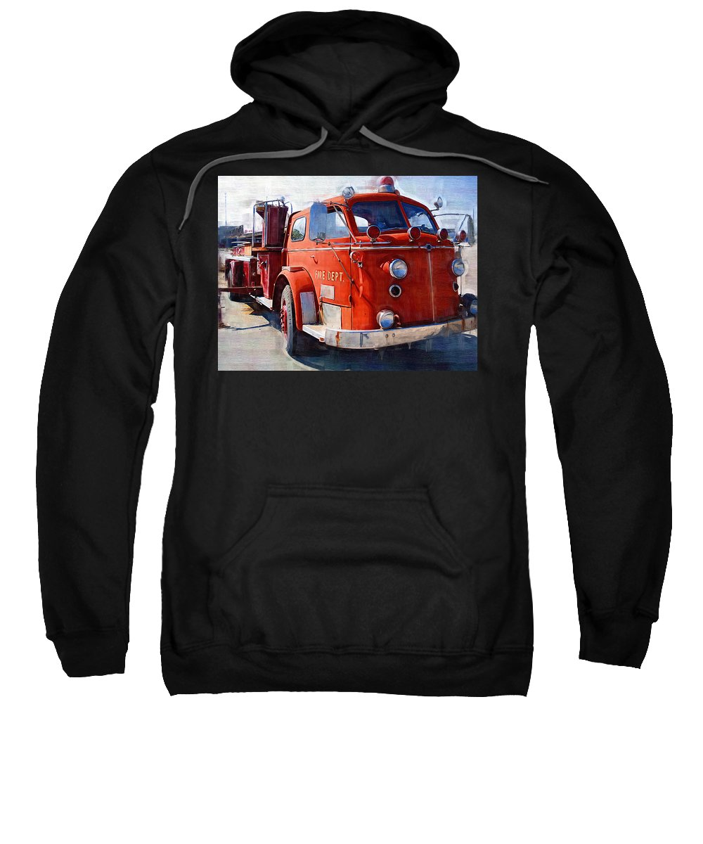 Classic Sweatshirt featuring the photograph 1954 American Lafrance Classic Fire Engine Truck by Kathy Clark