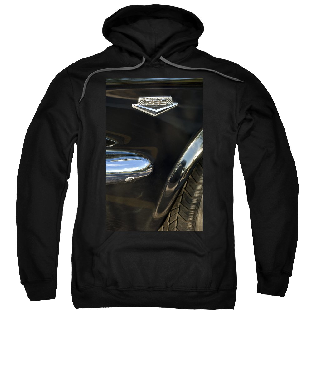 1965 Ford Mustang Sweatshirt featuring the photograph 1965 Ford Mustang Emblem 3 by Jill Reger