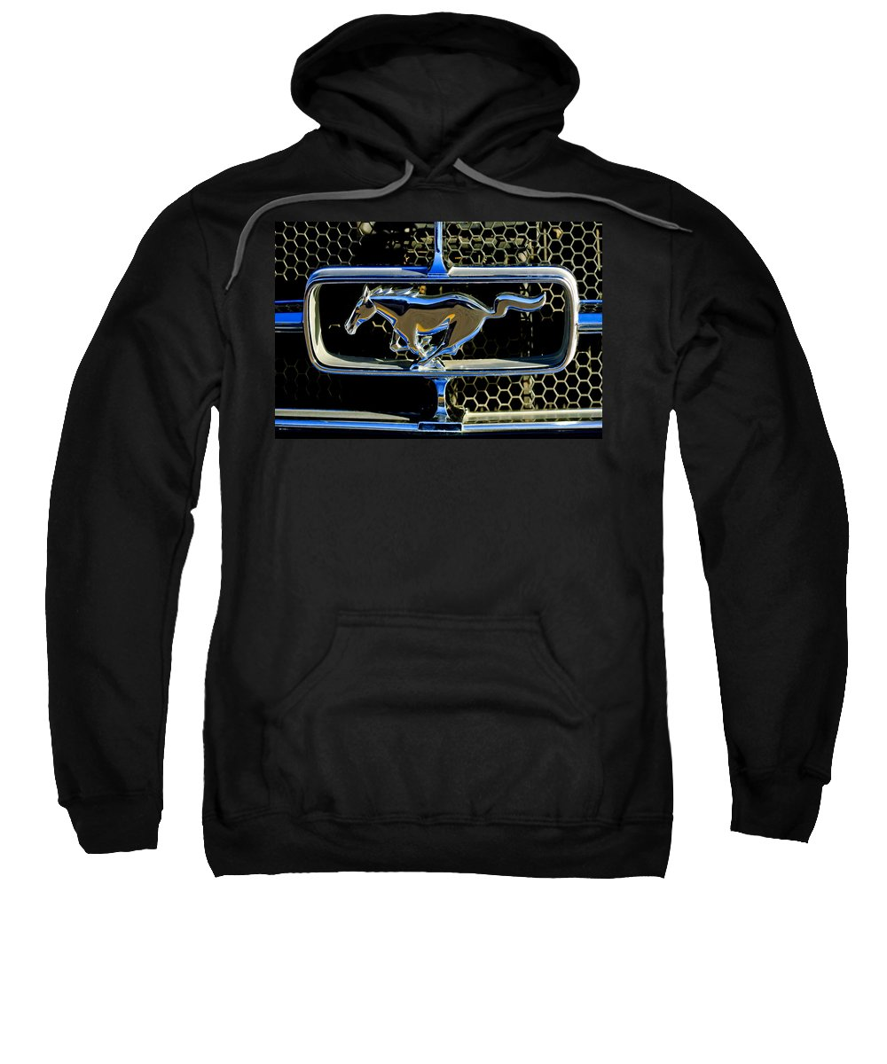 1965 Ford Shelby Mustang Sweatshirt featuring the photograph 1965 Ford Shelby Mustang Grille Emblem by Jill Reger