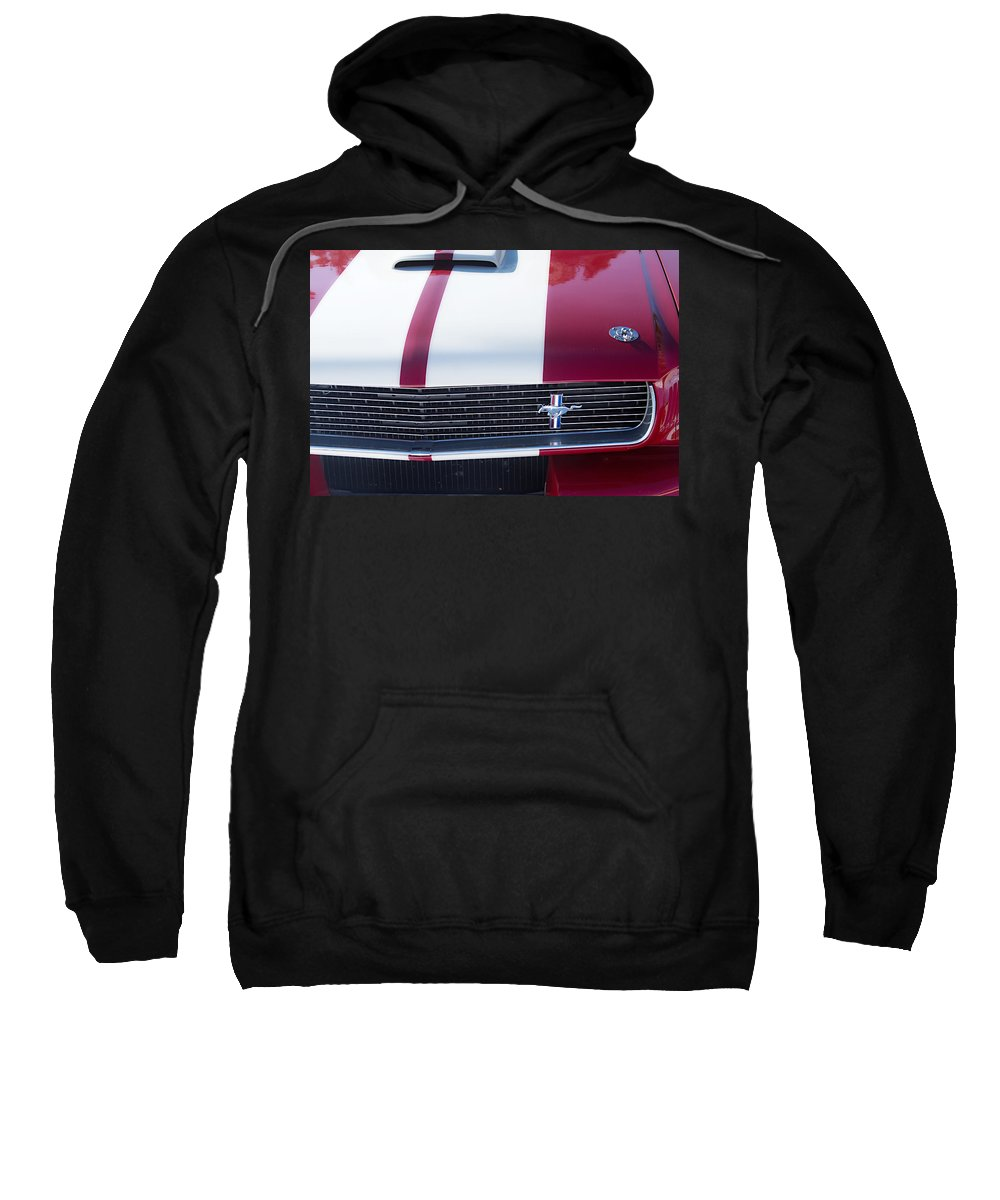Automobiles Sweatshirt featuring the photograph 1966 Red Ford Mustang Shelby Gt350 Front by James BO Insogna