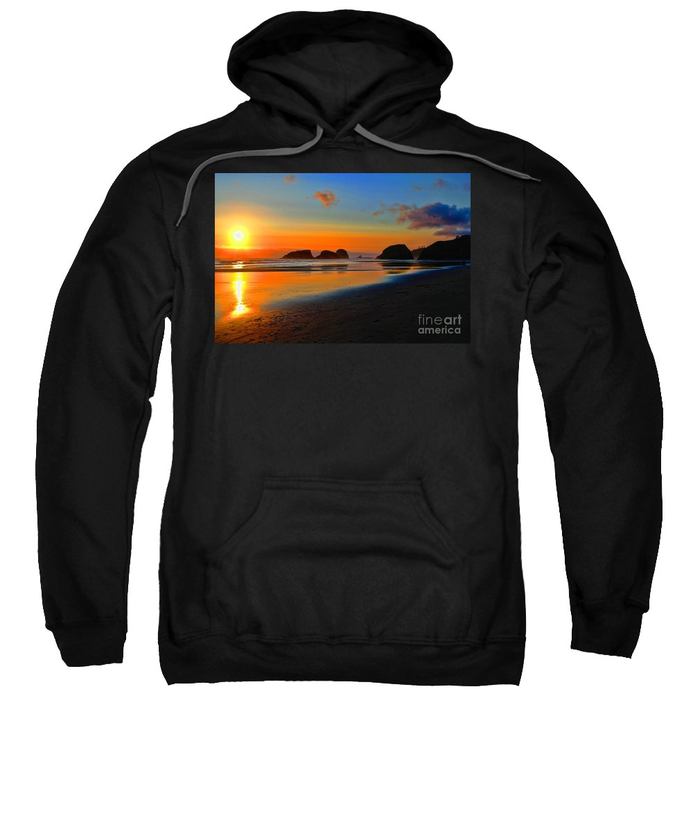 City Of Cannon Beach Located Pacific Northwest Coast Oregon Portland South Of Astoria Sweatshirt featuring the photograph Cannon Beach Sunset by RJ Aguilar