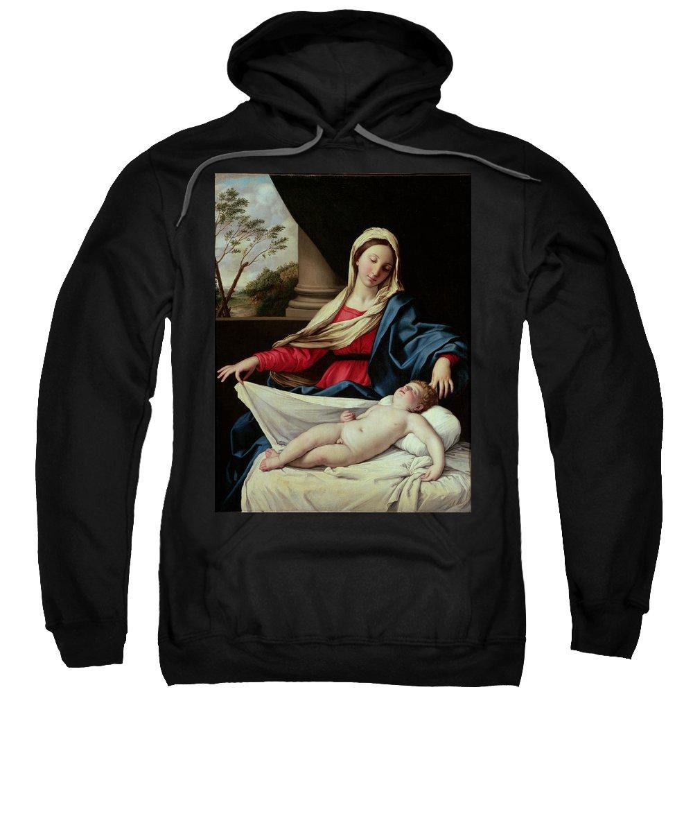 Madonna And Child (oil On Panel) By Il Sassoferrato (giovanni Battista Salvi) (1609-85) Mary Sweatshirt featuring the painting Madonna And Child by Il Sassoferrato
