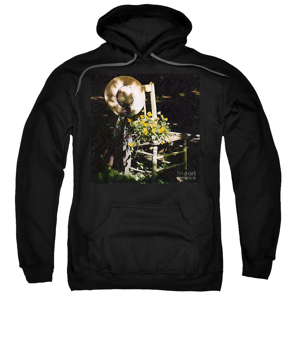 Chair Sweatshirt featuring the photograph Sit A Spell by Donna Bentley