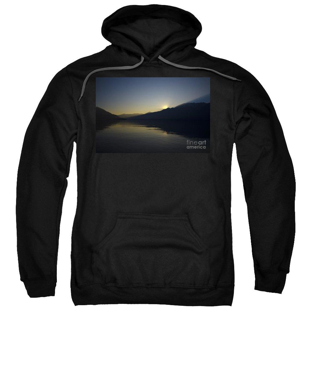 Sun Sweatshirt featuring the photograph Sunset Over An Alpine Lake by Mats Silvan