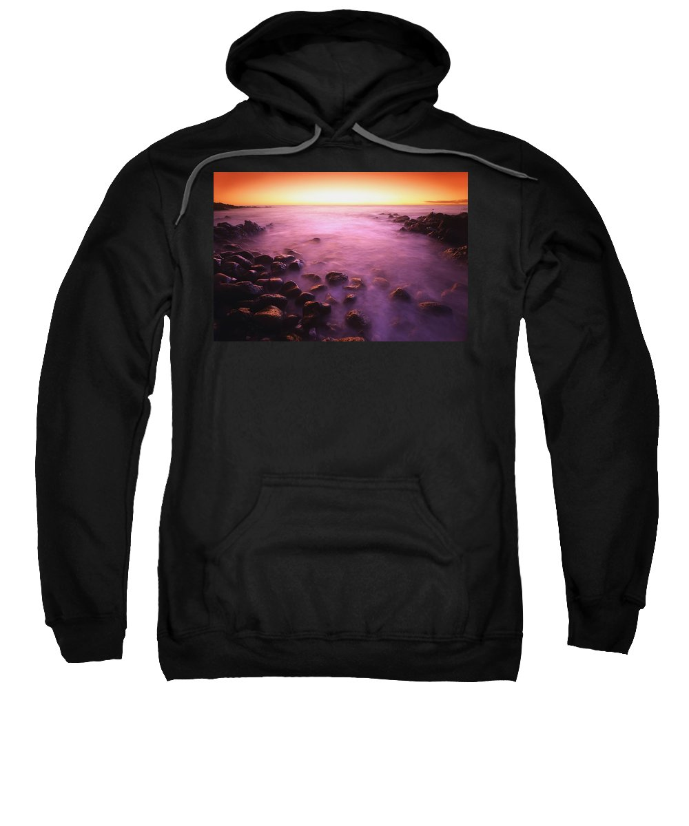 Blurred Motion Sweatshirt featuring the photograph Sunset Over Water, Hawaii, Usa by Don Hammond