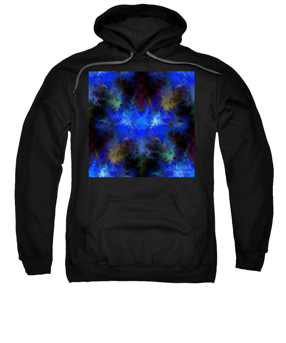 Blue Sweatshirt featuring the digital art Fractal by Henrik Lehnerer