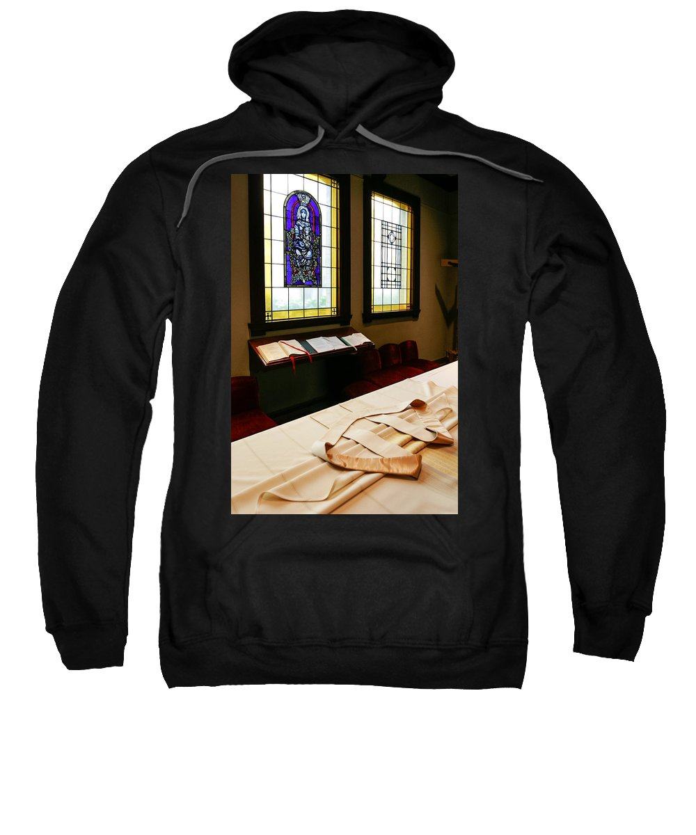 Sacristy Ready For Vesting Sweatshirt featuring the photograph St James Cathedral by Mike Penney