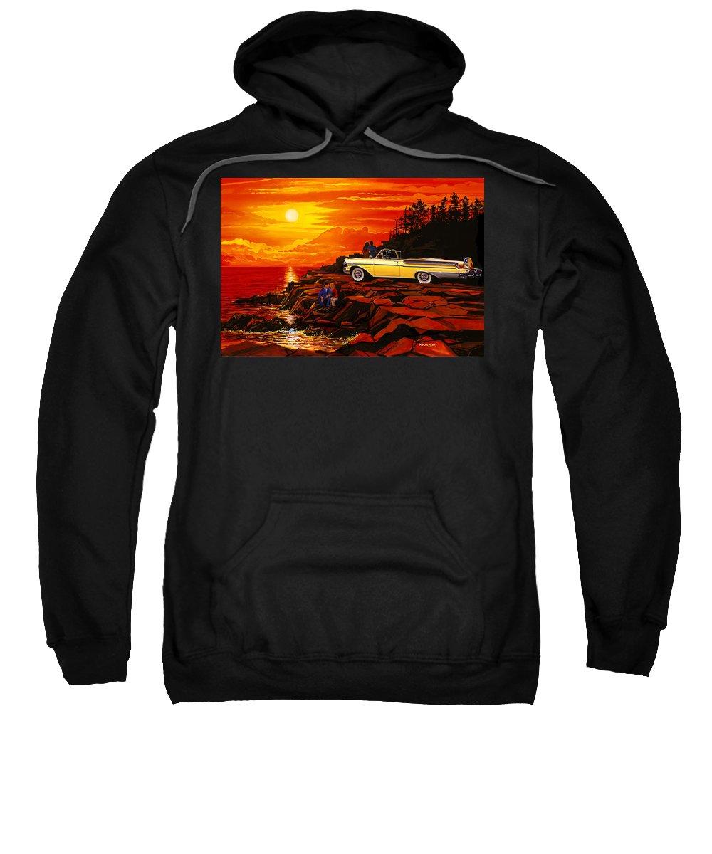 Adultcoupleloveromancesunsetbodywork Sweatshirt featuring the photograph 57 Merc Sunset by Bruce Kaiser