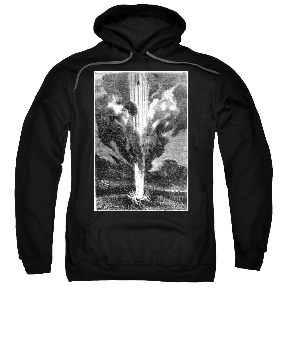 1870 Sweatshirt featuring the photograph Verne: Earth To Moon by Granger
