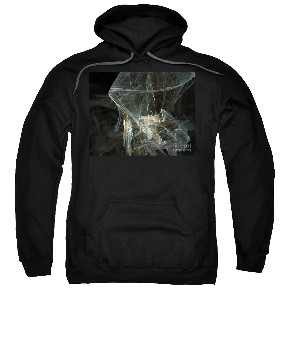 Background Sweatshirt featuring the digital art Fractal by Henrik Lehnerer