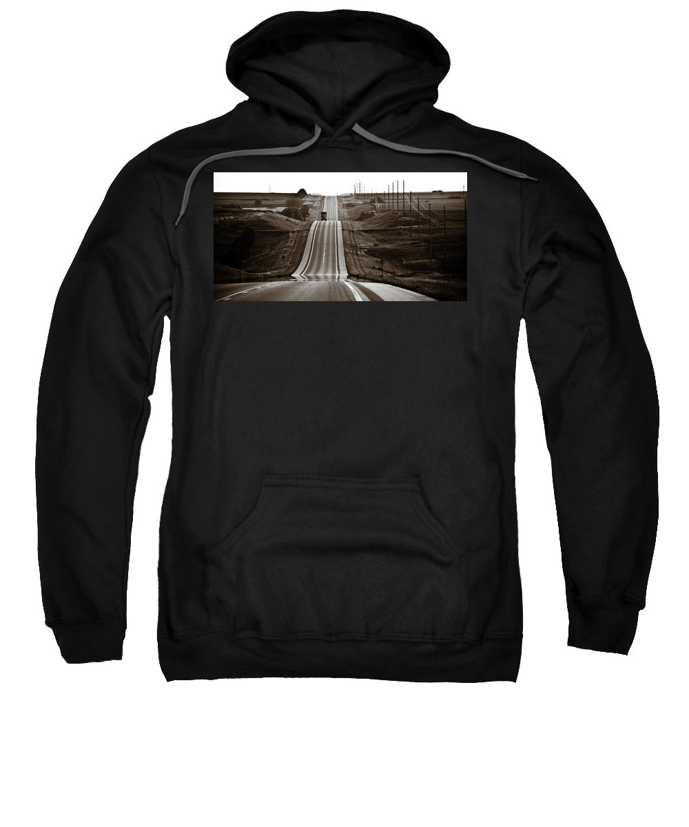 Nebraska Sweatshirt featuring the photograph A Country Mile 2 by Marilyn Hunt