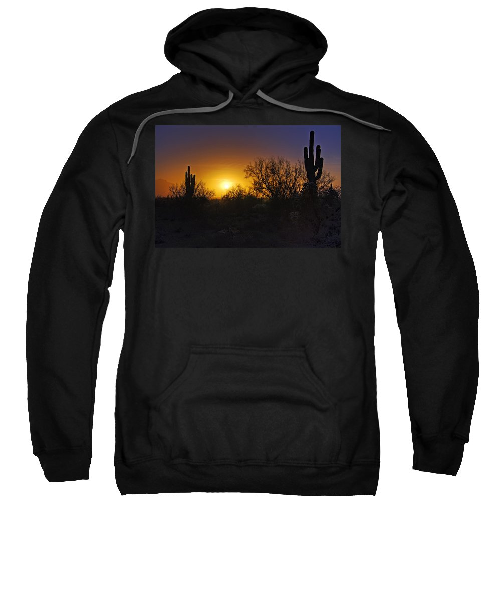 Sunrise Sweatshirt featuring the photograph A Golden Saguaro Sunrise by Saija Lehtonen
